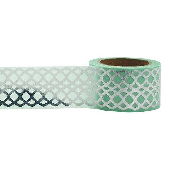 Washi Tape menta Washi Tape, nastro d'argento & menta, abbellimento, mestiere Tape, nastro decorativo, nastri stampati, Planner nastro, nastro di Scrapbooking