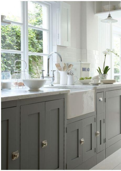 farm sinks for kitchen | Gorgeous grey cabinets + farm sink | Kitchens