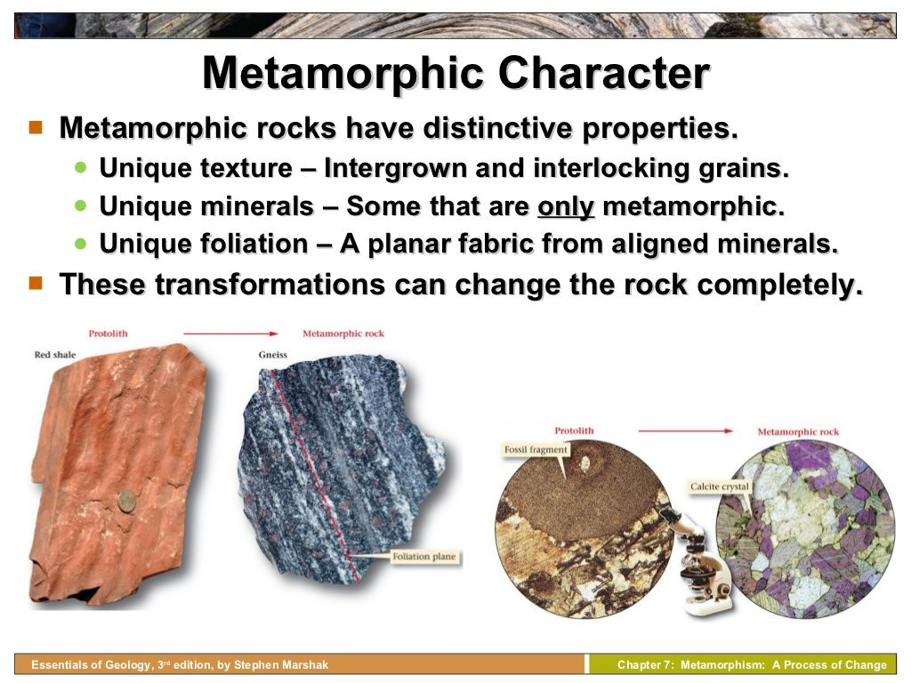 Metamorphic Character Metamorphic Rocks Have Distinctive