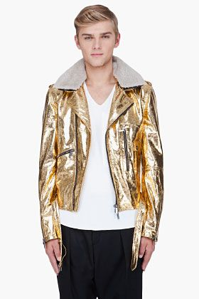 dff6957aa JOHN GALLIANO Metallic Gold Leather Jacket | My Style | Gold jacket ...