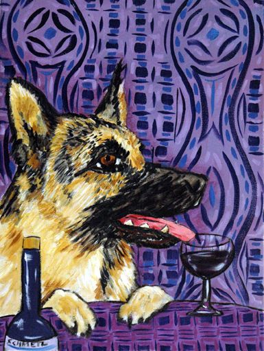 GERMAN SHEPHERD dog wine  art PRINT animals impressionism 13x19