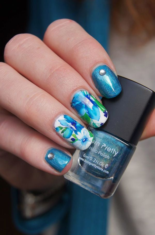 50+ Watercolor Nail Art Ideas   Flower watercolor, Watercolor and ...