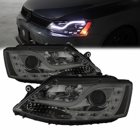 2011-2014 Volkswagen Jetta DRL LED Tube Projector Headlights - Smoked