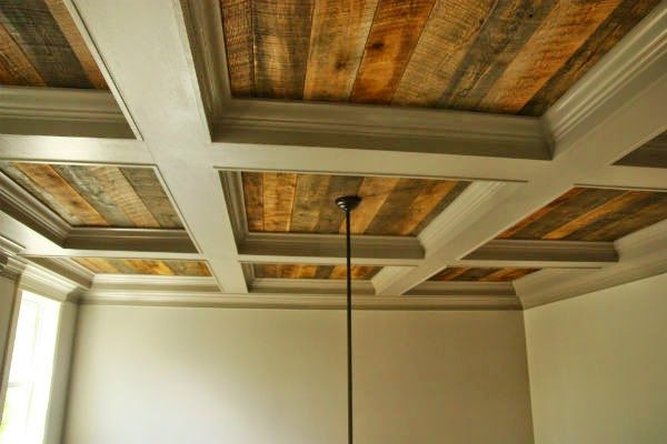 Coffered Ceiling With Rustic Wood Cofferedceiling Rustic Coffered Ceiling Home Ceiling Ceiling Design