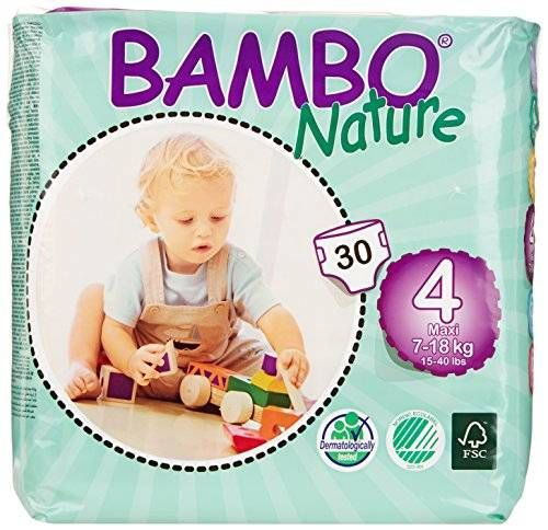 180 Count 15-40 lbs Bambo Nature Eco Friendly Baby Diapers Classic for Sensitive Skin 6 Packs of 30 Size 4