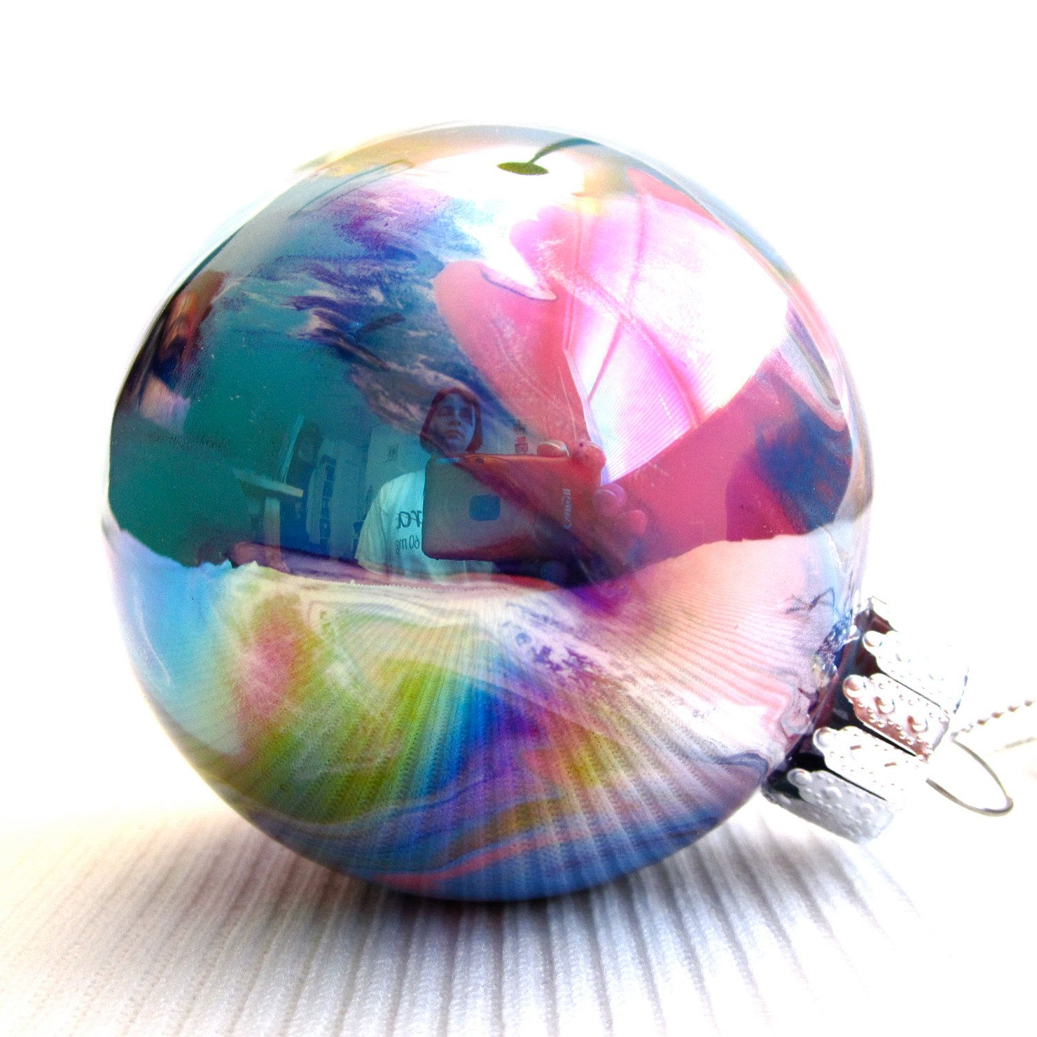 Multicolored 2 12 Iridescent Round Glass Ornament Painted Inside $1500,