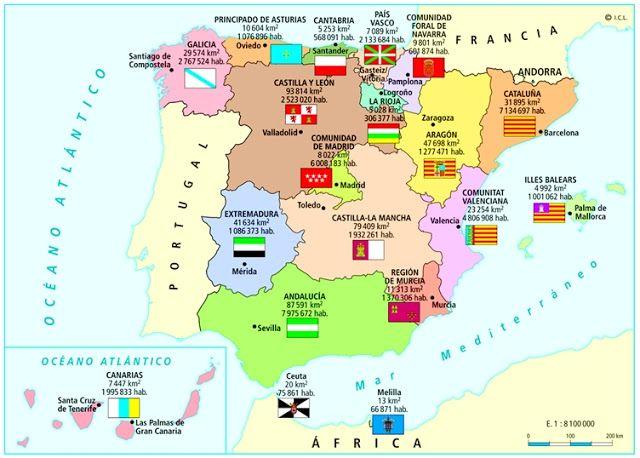 Pin De Ies El Tablero Geografía De En 23 España En Su Diversidad Regional Comunidades Autonomas De Espana Geografía Humana España