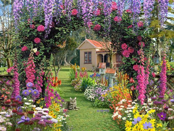 Gartengestaltung ideen traumhafte garten mit viele blumen Gartengestaltung terrasse ideen