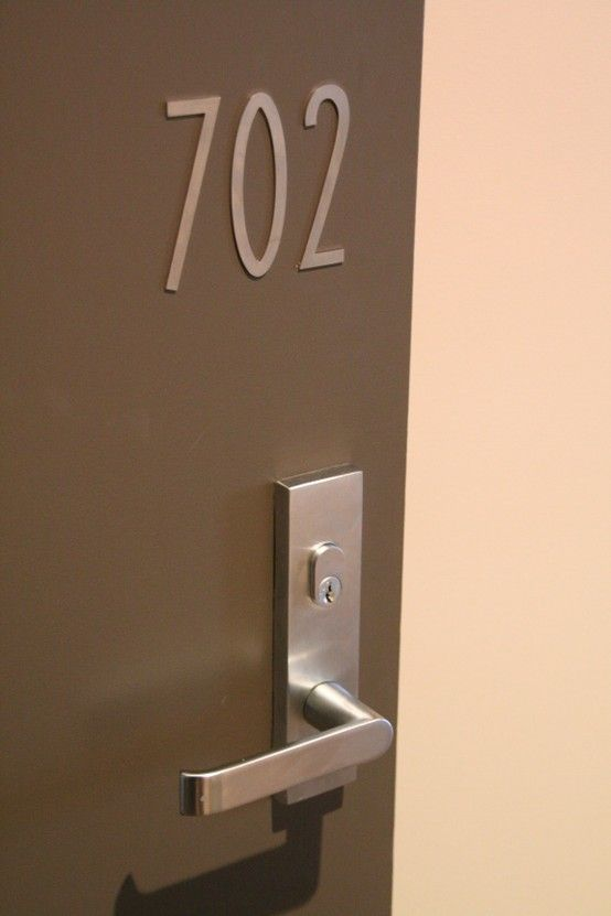 Apartment Commercial Handles with matching door numbers simple and modern  Door hardware in