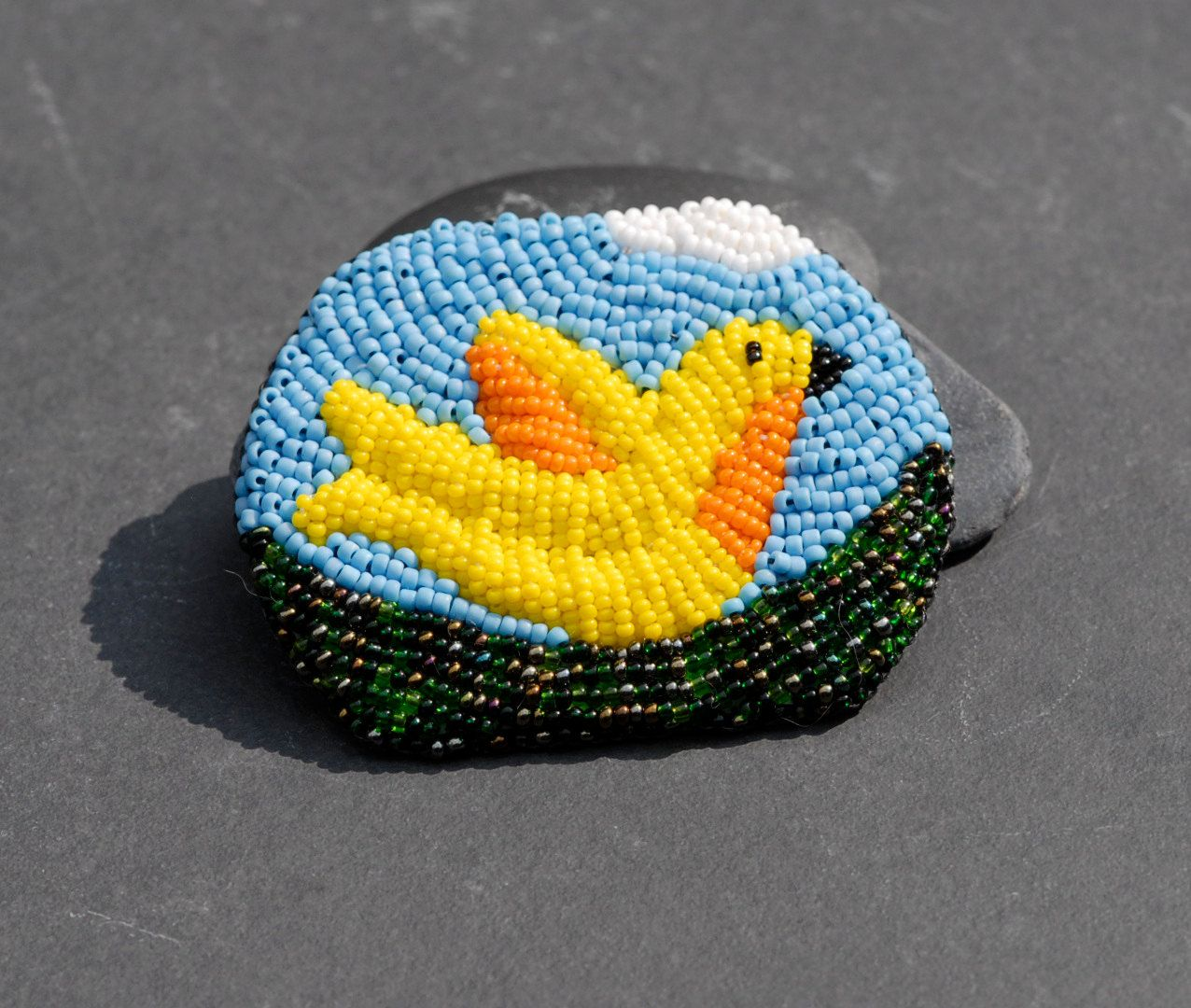 Blue skies brooch - bead embroidered yellow bird pin (56.00 USD) by FirepanJewellery