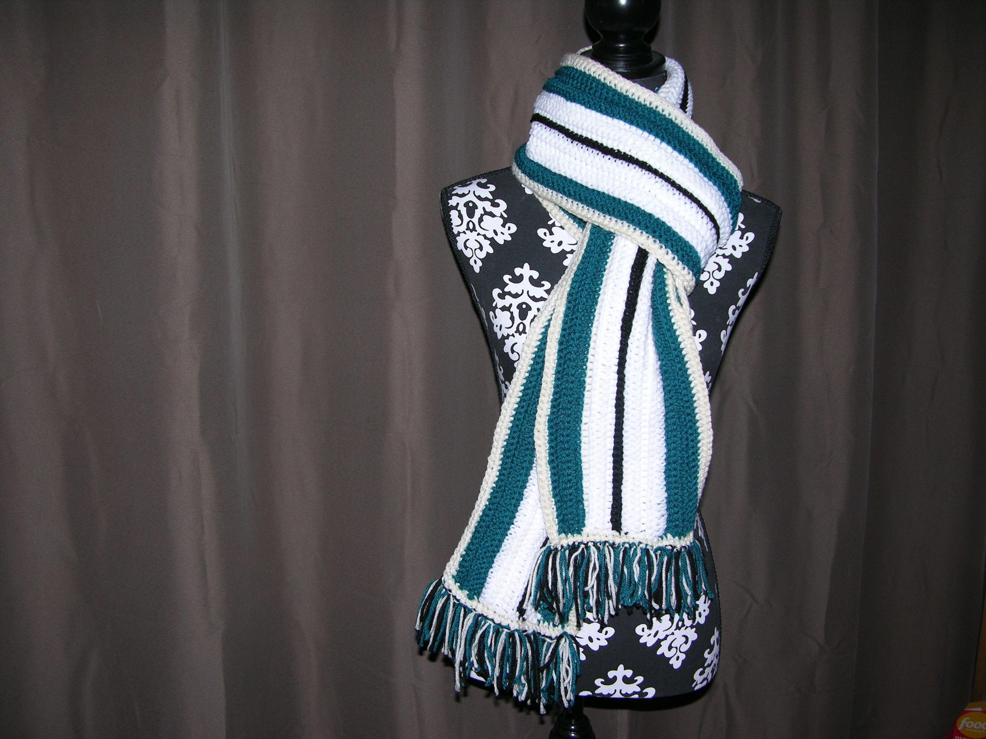 Handmade Black, white, & teal striped scarf