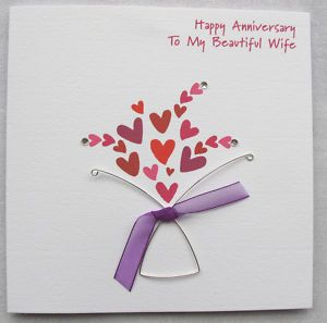 Hand Made Anniversary Cards Handmade Wedding Card Husband Wife Mum Dad Ebay