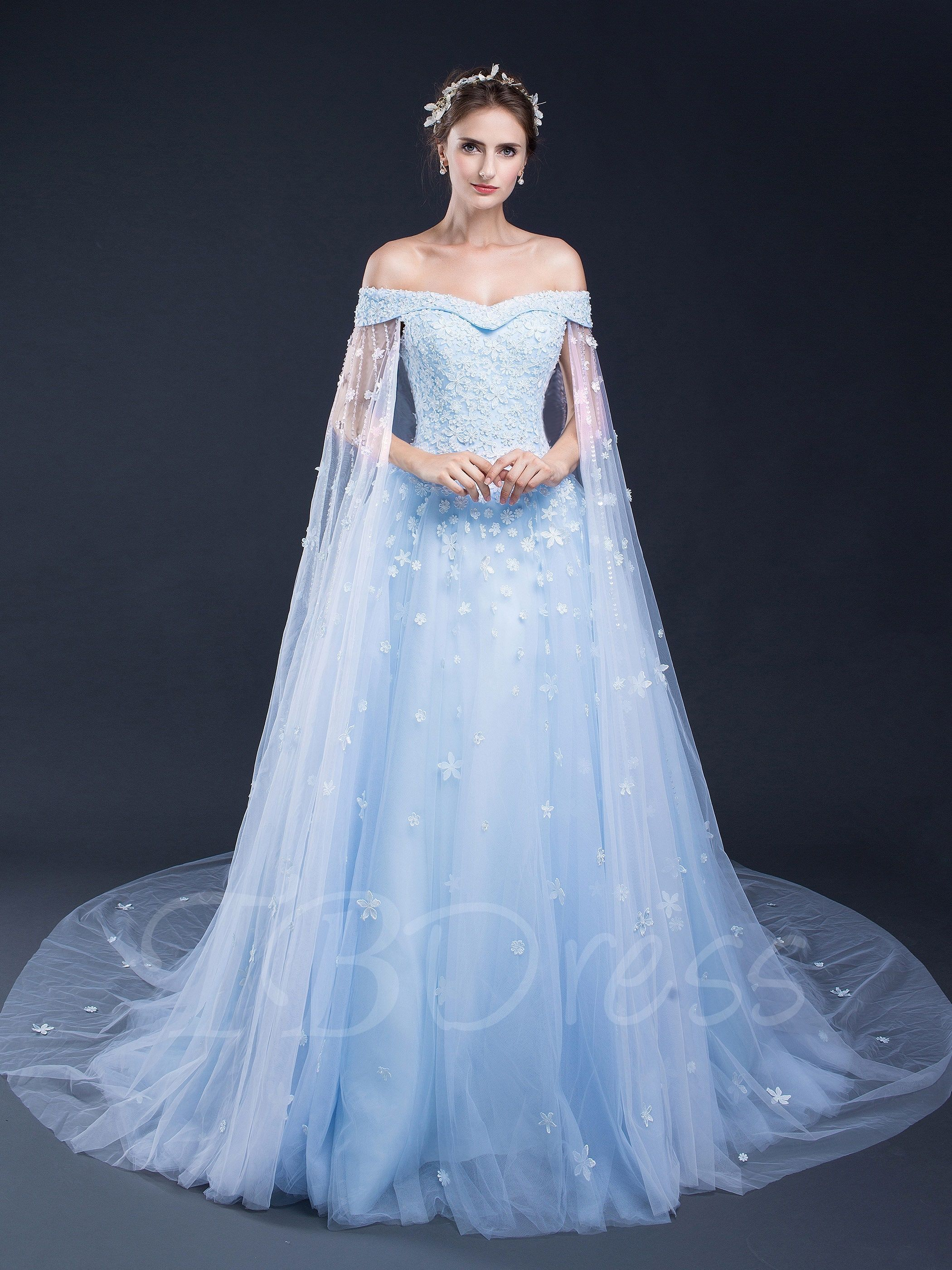 a1cd2d45a818 Tbdress.com offers high quality Off-the-Shoulder Cap Sleeves Appliques  Beading Watteau Train Prom Dress Prom Dresses 2017 unit price of $ 195.69.