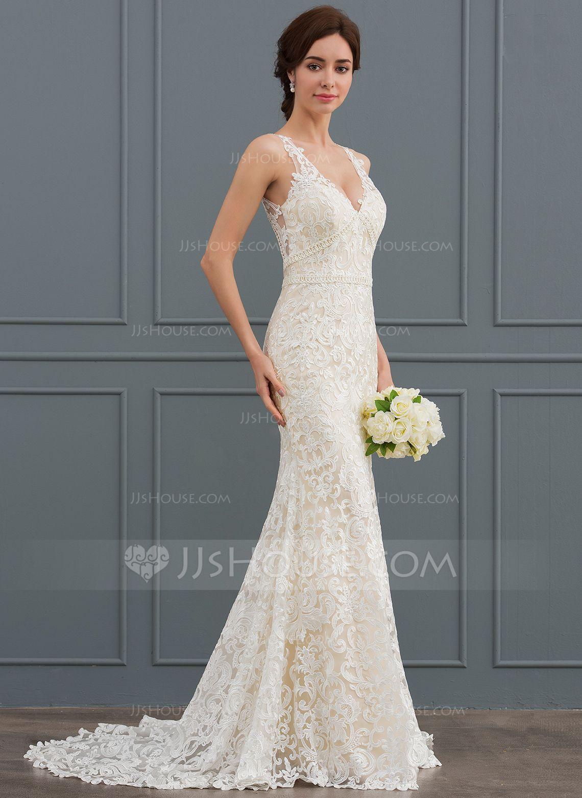 Us 368 00 Trumpet Mermaid V Neck Sweep Train Lace Wedding Dress Jj S House Wedding Dresses Wedding Dresses Lace Wedding Dresses Under 500 [ 1562 x 1140 Pixel ]