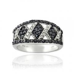 Black & White Diamond Criss Cross Silver Tone Band Ring