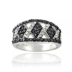 Black & White Diamond Criss Cross Silver Tone Band Ring