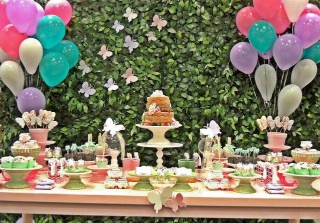 #festa #infantil #primeiro #aniversario #jardim #borboletas #mesa #decorada #meninas