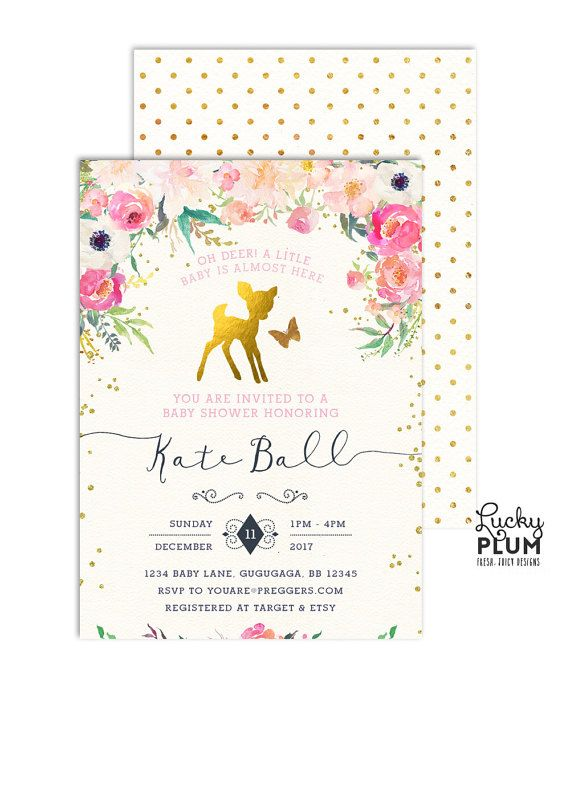 Deer Baby Shower Invitation  Bambi Baby Shower By Luckyplumstudio