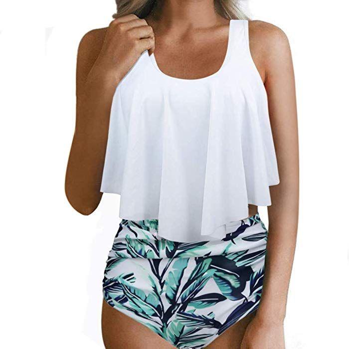 15ce1dbc7b5 Amazon.com: RXRXCOCO Women Flounce High Waisted Bikini Swimsuit Two Piece  Bathing Suit Top with Swim Bottom: Clothing
