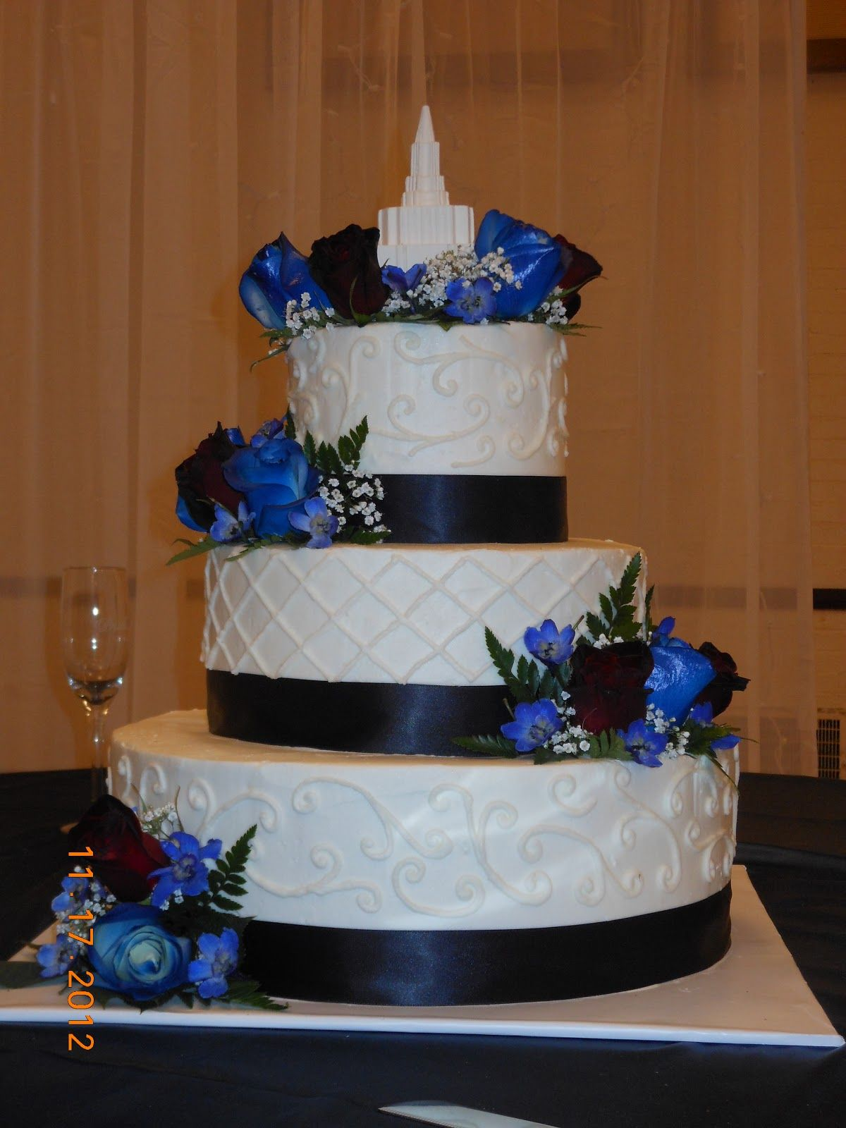 Navy Blue Yellow And Grey Wedding Cakes