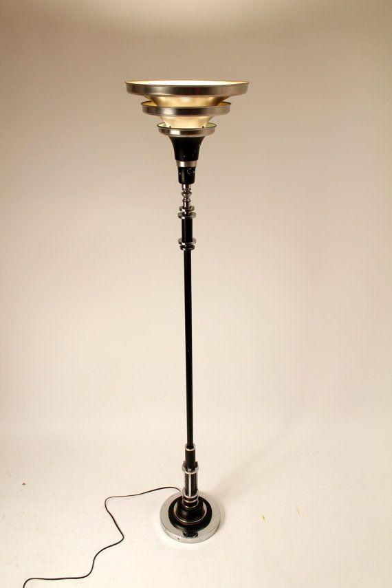 Art Deco Torchiere In The Manners Of Donald Deskey Machine Etsy Art Deco Floor Lamp Art Deco Lamps Deco Floor Lamp