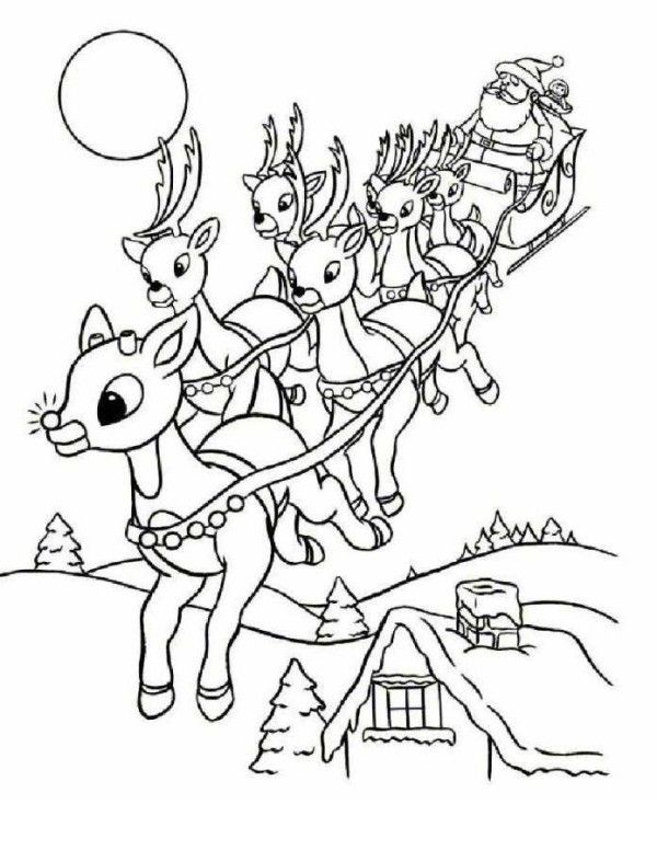 Rudolph And Santa Leigh Reindeers Coloring Page | HOLIDAY: Stocking ...