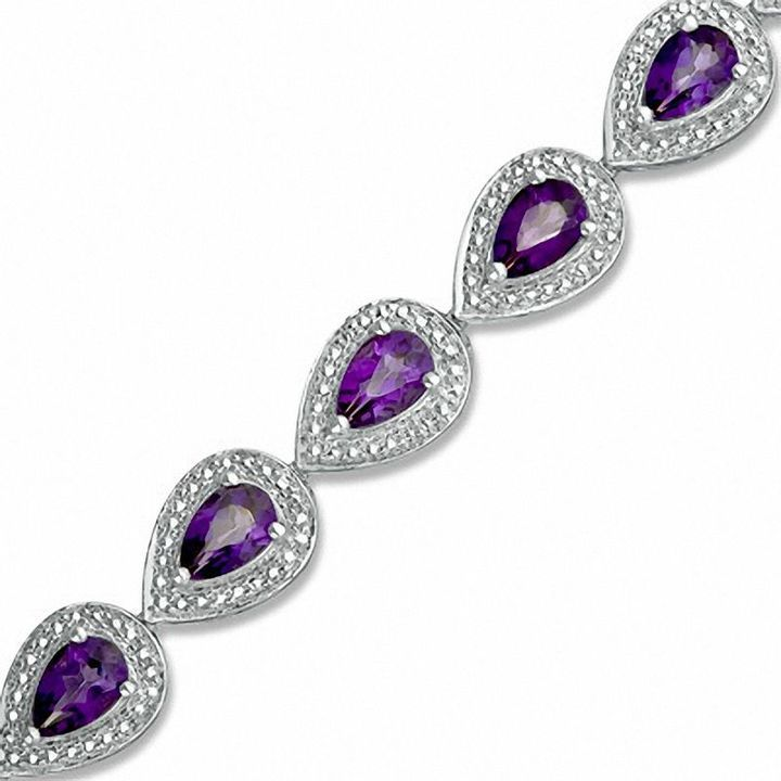 Zales Pear-Shaped Amethyst and Diamond Accent Beaded Frame Bracelet in Sterling Silver - 7.25 zpMrUREP