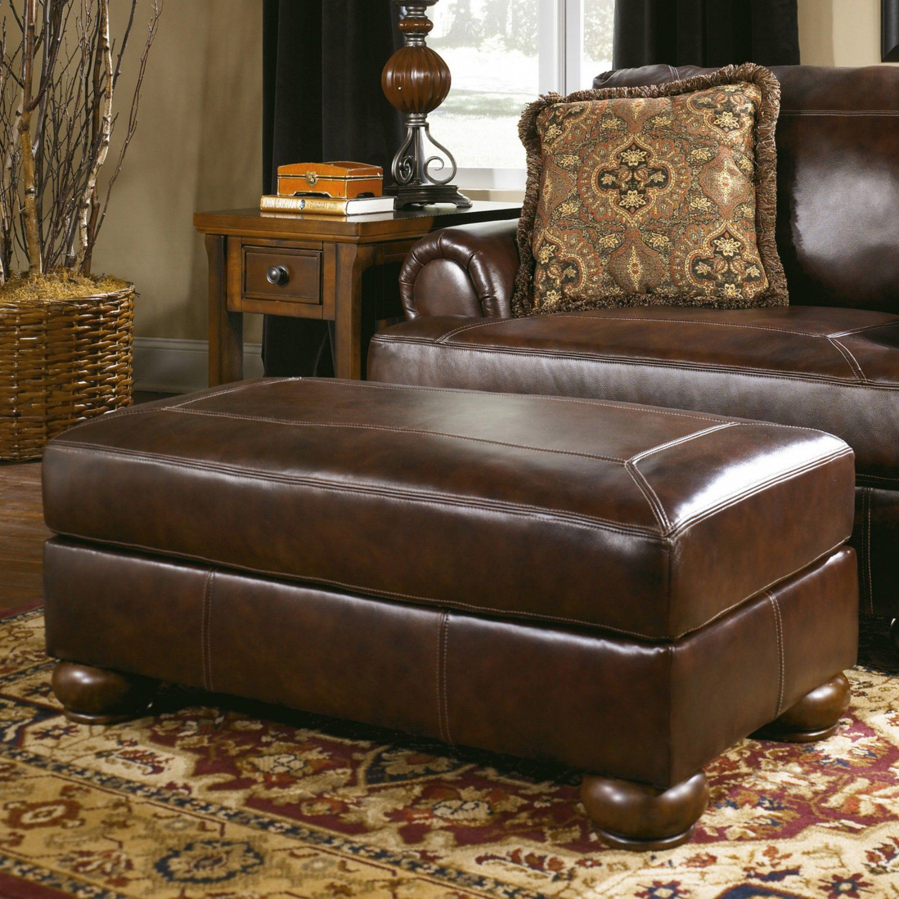 Signature Design By Ashley Axiom Leather Ottoman  4200014