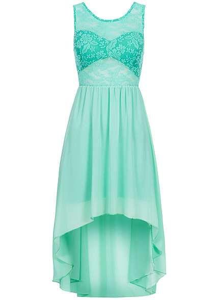 Styleboom Fashion Damen Vokuhila Kleid teils transp Spitze ...