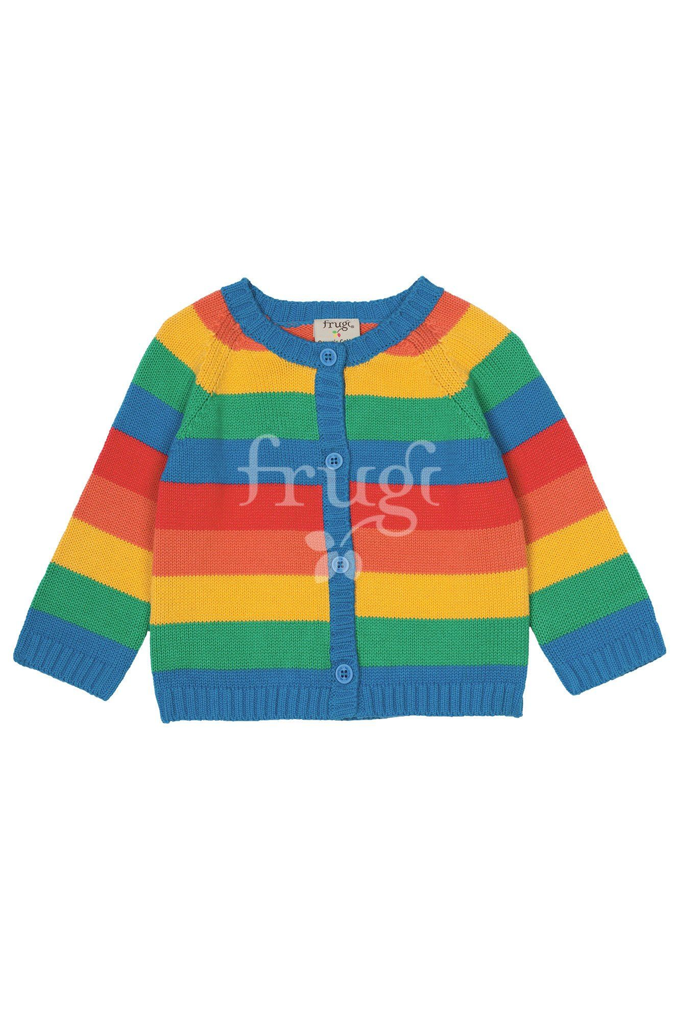 This fun rainbow stripe knitted cardigan is made from organic cotton ... b492caef0a8e