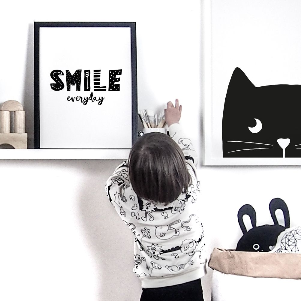 Children S Monochrome Nursery Prints Available At Little Print Uk And On Our Etsy Smile Everyday Black White Inspiration