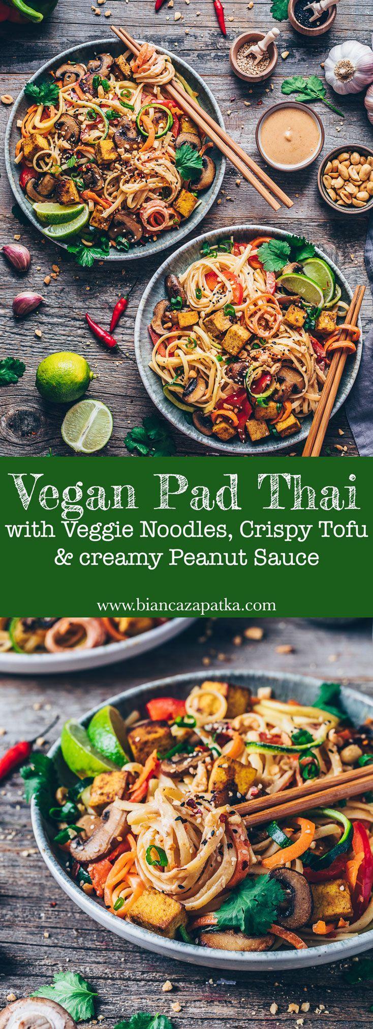 Pad Thai Pad Thai with crispy tofu, vegetable noodles, zucchini, carrots, mushrooms, creamy peanut saucePad Thai with crispy tofu, vegetable noodles, zucchini, carrots, mushrooms, creamy peanut sauce