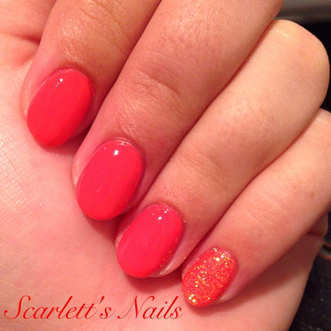CND Tropix coral glitter simple summer shellac nails #scarlettsnails ...