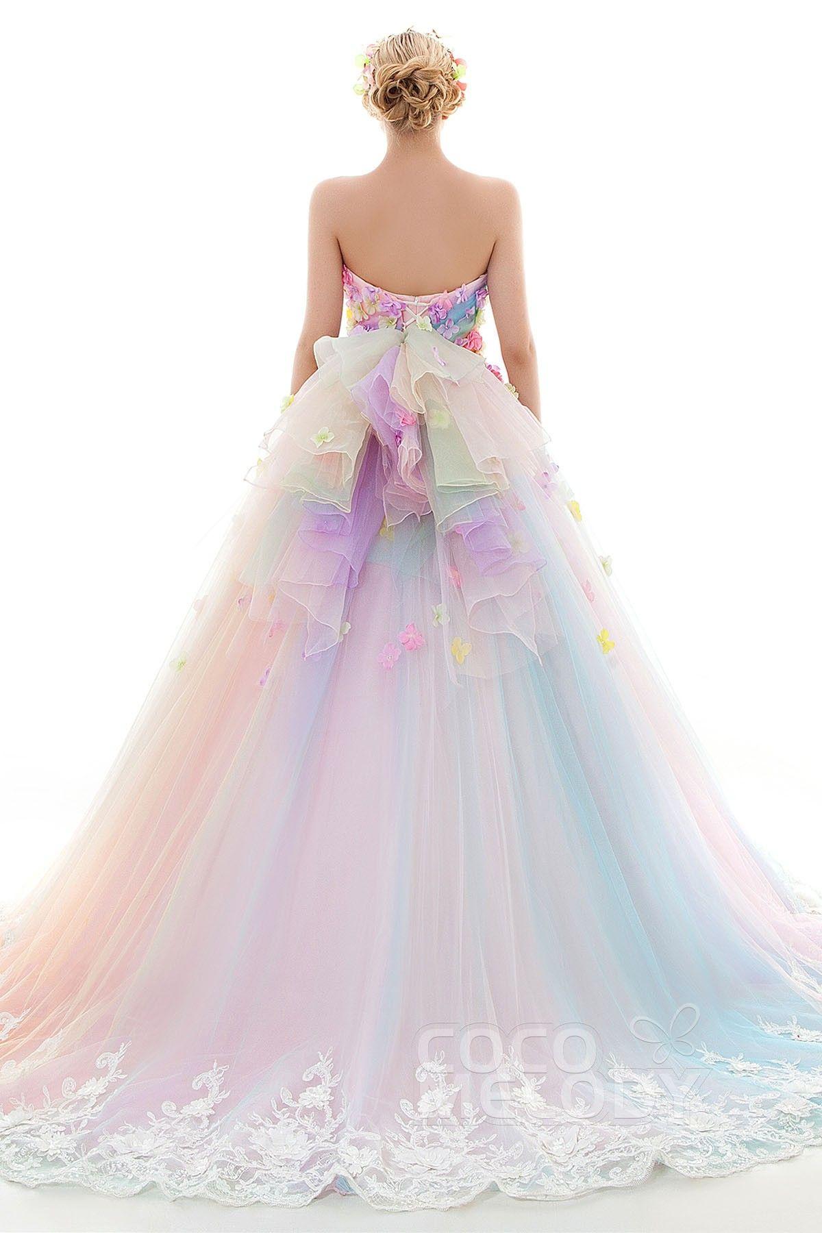 レインボーカラードレス プリンセス パッスル付き カラフルドレス リボン