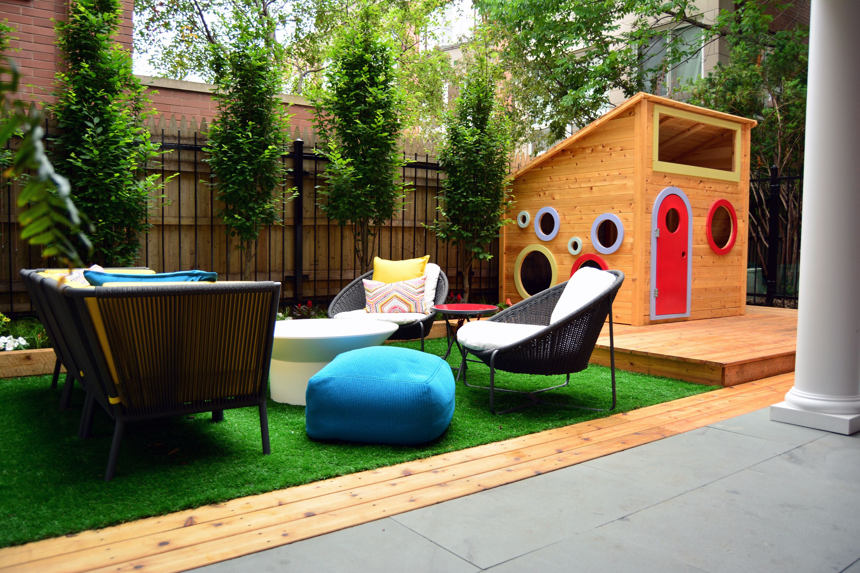 back yard landscape design urban artificial turf outdoor furniture kids playhouse