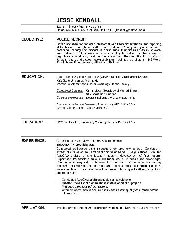 Police Officer Resume Sample Objective -    wwwresumecareer - resume examples for college