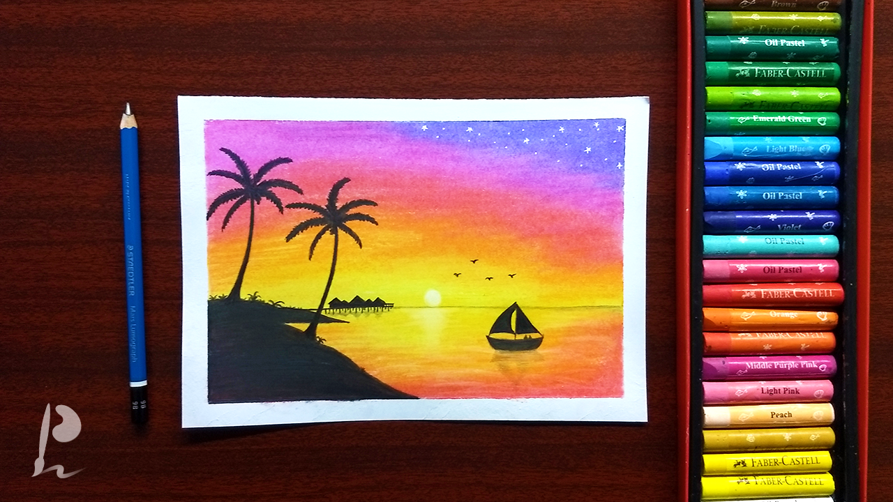 In This Video I Show You How To Draw Beautiful Sunset Scenery
