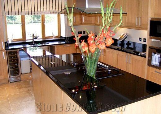 Angola Black Kitchen Island Top, Black Granite Kitchen Island Top ...