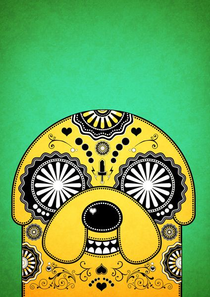 Jake - Day of the De-Adventure Time (Green) Art Print