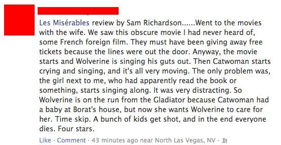 Wolverine Is On The Run From Gladiator A Very Succinct Les Miserables Review With Images Funny Movies Les Miserables Les Miserables Movie