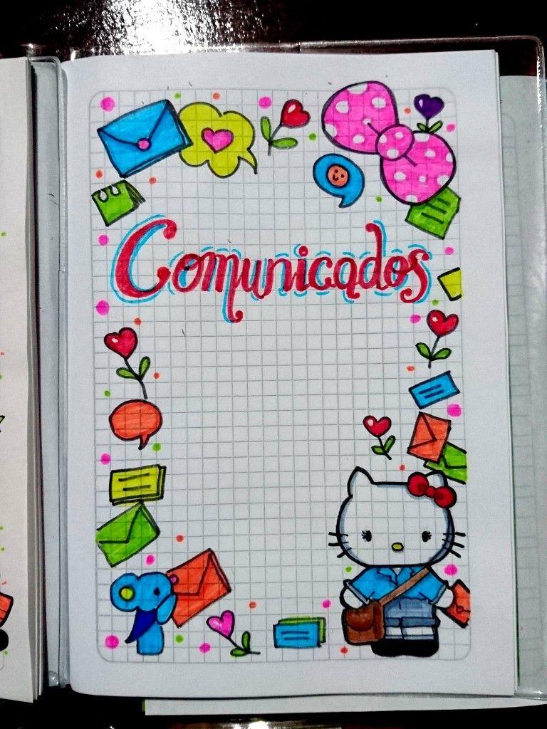 Caratulas Portadas Para Cuadernos De Ninas Hello Kitty Cuadernos Creativos Cuadernos De Dibujo Portadas De Cuadernos