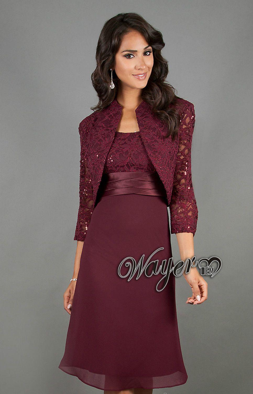 Plus size jacket dress for wedding  HLSD Formal Elegant Wine Lace Chiffon Knee Length Mother of the