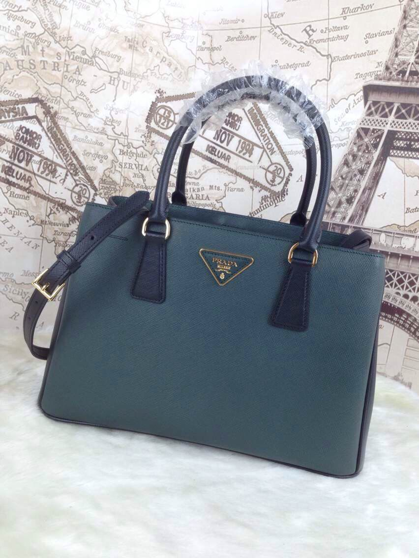 Prada Two-tone Saffiano Leather BN1874 Tote Bag Dark Green Black ... 867a94f179c68