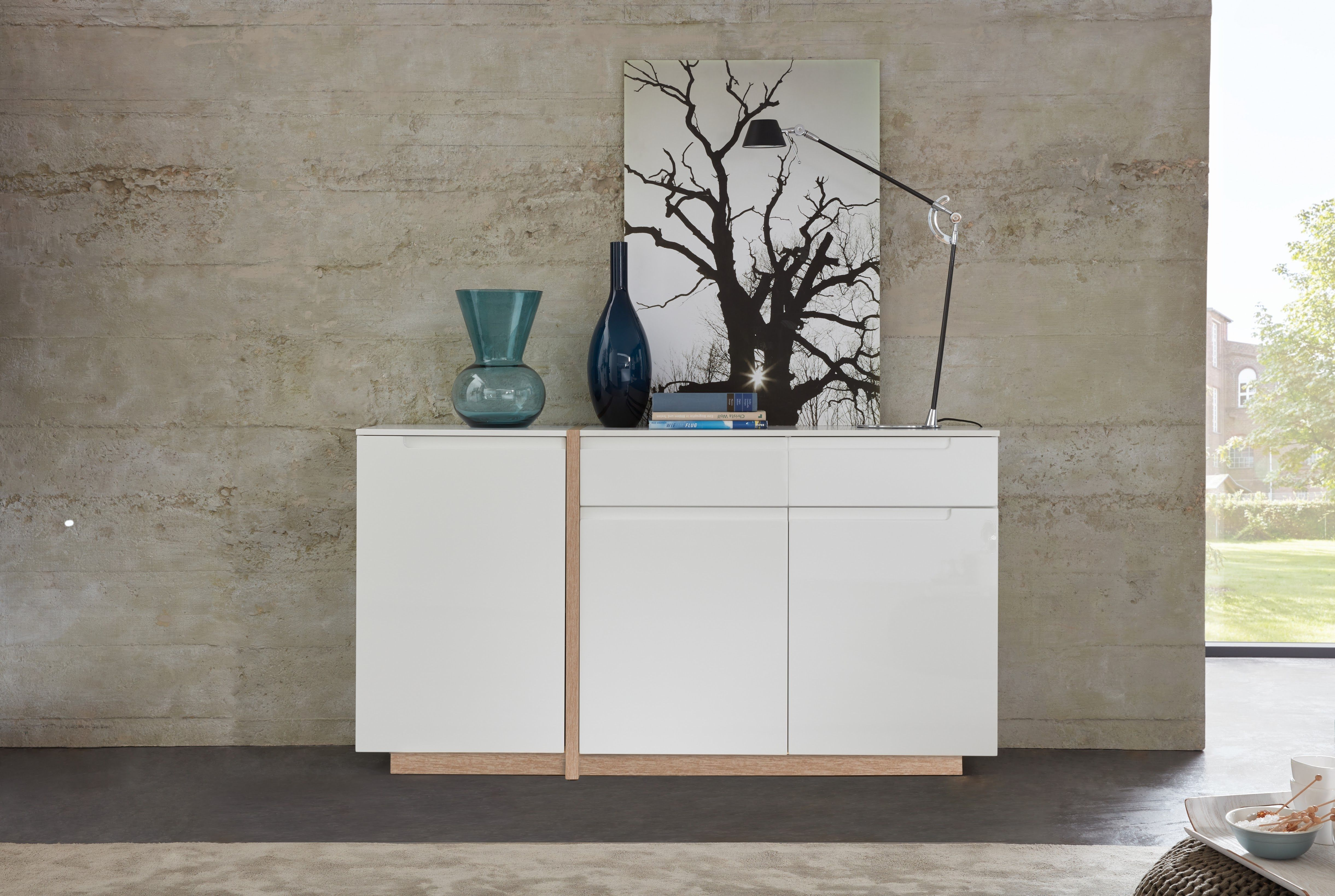 sideboard weiss matt hochglanz tiefgezogen abs eiche bianco woody 35 00295 holz modern jetzt. Black Bedroom Furniture Sets. Home Design Ideas