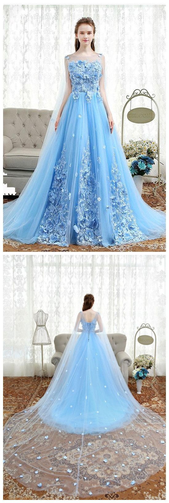 Chic A-line Scoop Blue Sweep Train Tulle Applique Modest Prom ...