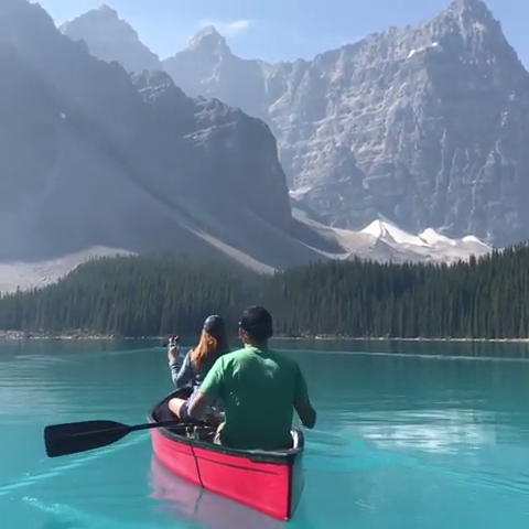Ah, the glamorous Moraine Lake. What better way to spend a day kayaking along its gorgeous water in front of the magnificent backdrop of pine forests and spectacular mountains? Find more information about this famous bucket list destination in the linked article.