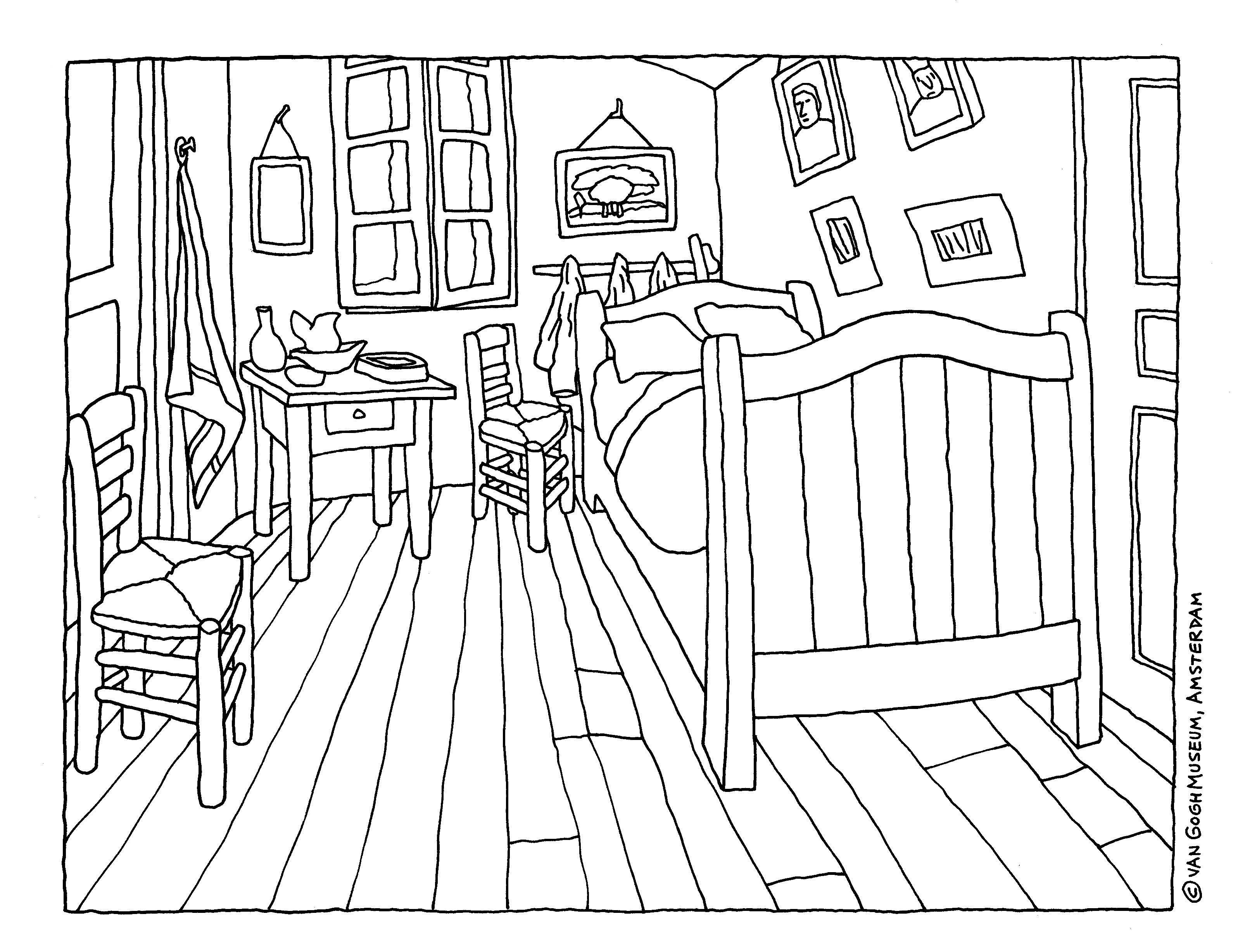 Colouring Page Of Vincent Van Gogh S Masterpiece The Bedroom Download It From The Website And Make Your O Zout Schilderij Van Gogh Kunst Van Gogh Schilderijen
