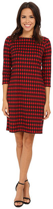 Nine West Houndstooth Printed Ponte T-Shirt Dress - Shop for women's T-shirt - Fire Red/Black T-shirt