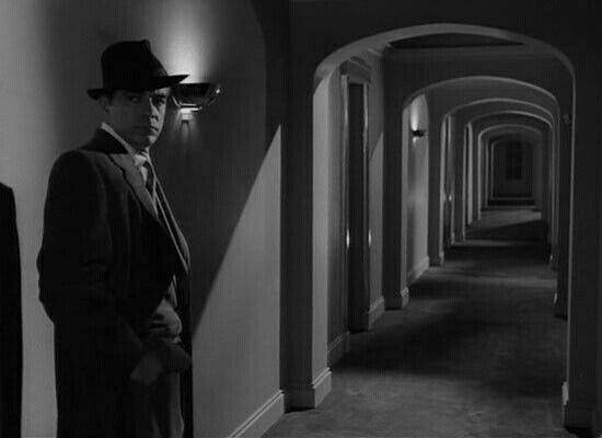 Night of the Demon - a creepy moment when Holden hears these strange noises getting nearer and nearer in his hotel corridor.