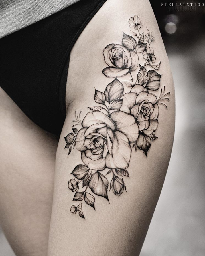 40 Elegant Unique Flower Thigh Tattoos Design For Women Flower Thigh Tattoos Thigh Tattoo Designs Thigh Tattoos Women